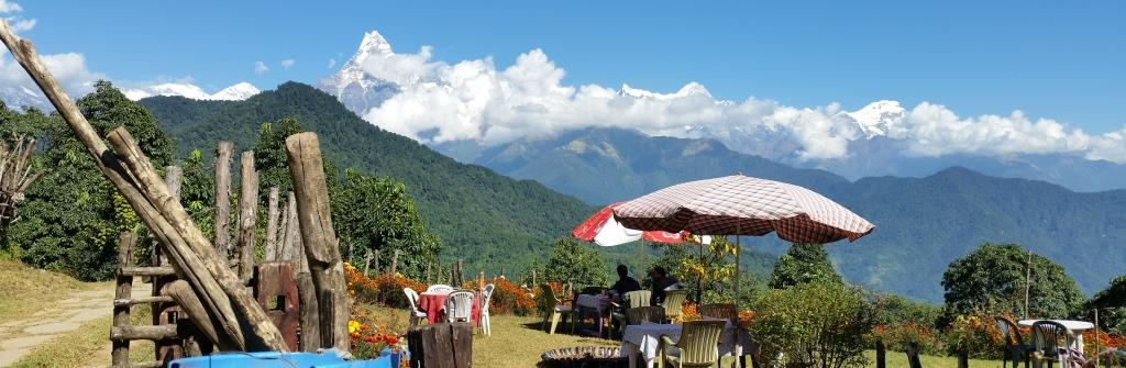 hier macht man Trekking Pause in Lodge, in den Annapurnas